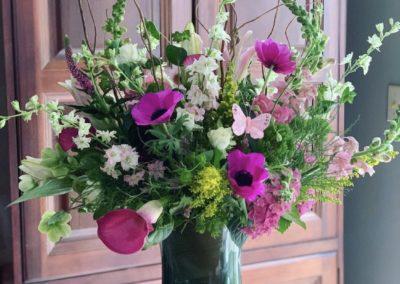 spring floral bouquet in glass vase