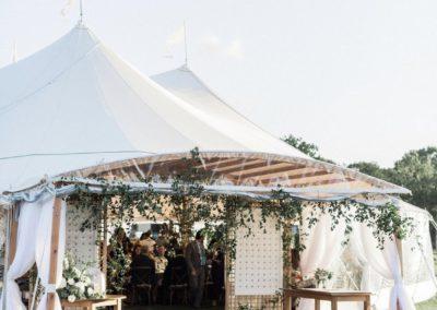 wedding tent with greenery